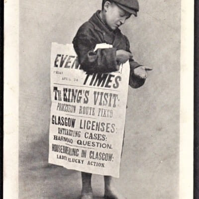 Read all about it! (The Glasgow Newsboy - picture taken Friday April 24, 1903 (Author's own))