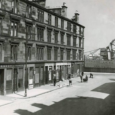 Docking in Govan (Copland Road, looking into Govan Graving Docks, 1948 (Daily Record))