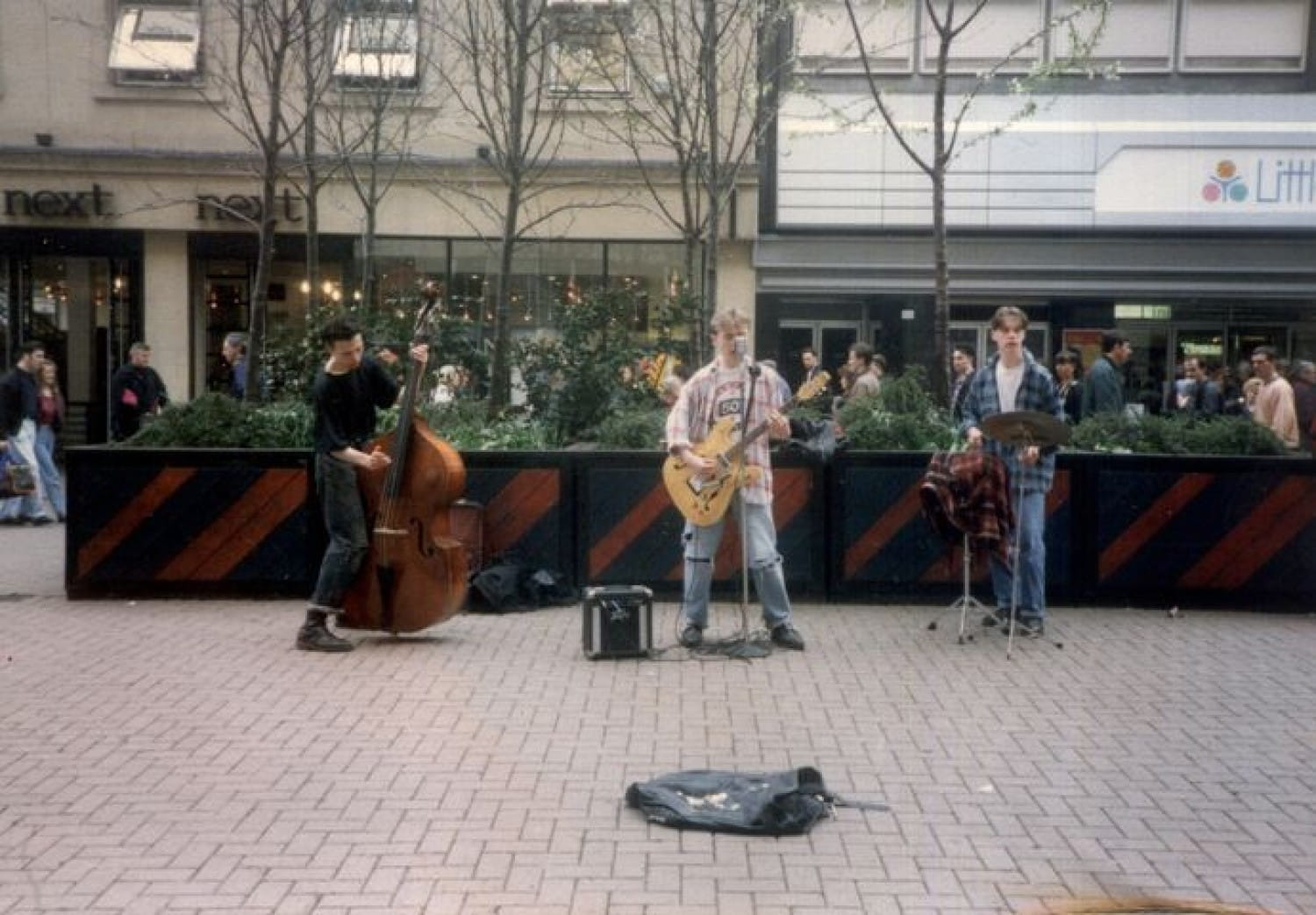 The band, busking in Argyle Street, in 1992