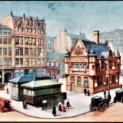 Square-eyed outside St Enoch (St Enoch Square (Glasgow Libraries))