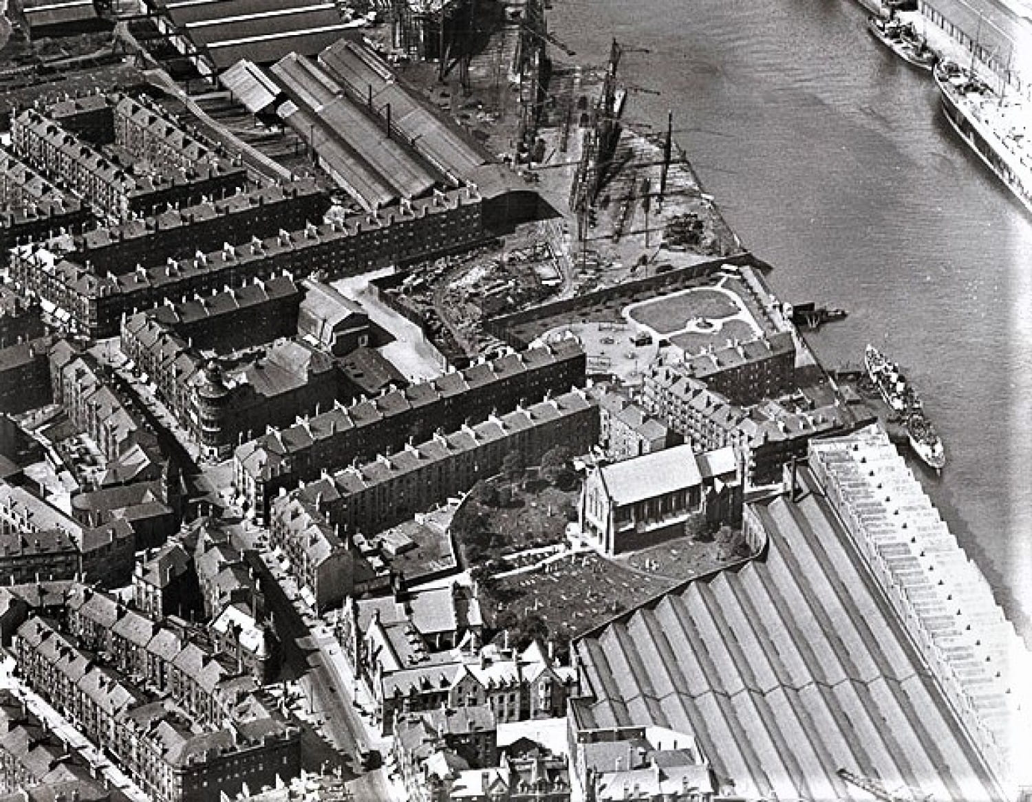 Govan Old, hemmed in by the river, tenements, and the shipyard (Glasgow City Council)