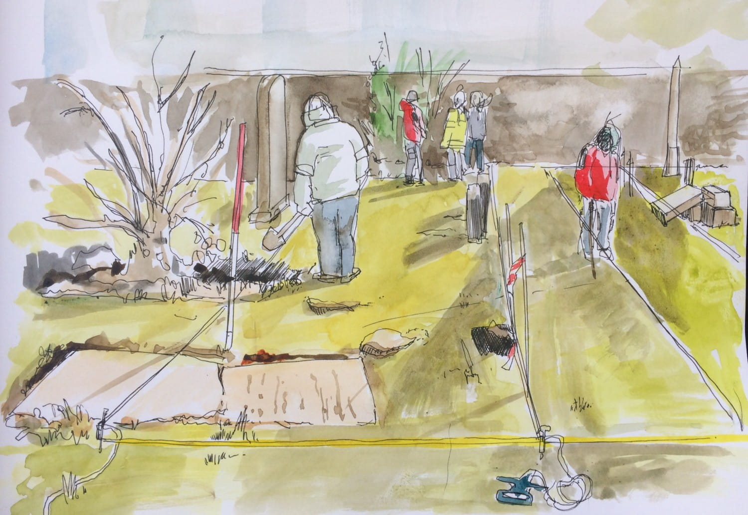 Artist in residence Fiona Fleming has been documenting the dig