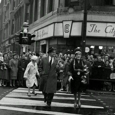 A Panda spotted in Partick! (Lord Provost Jean Roberts tries the city's first Panda Crossing, 1962.)