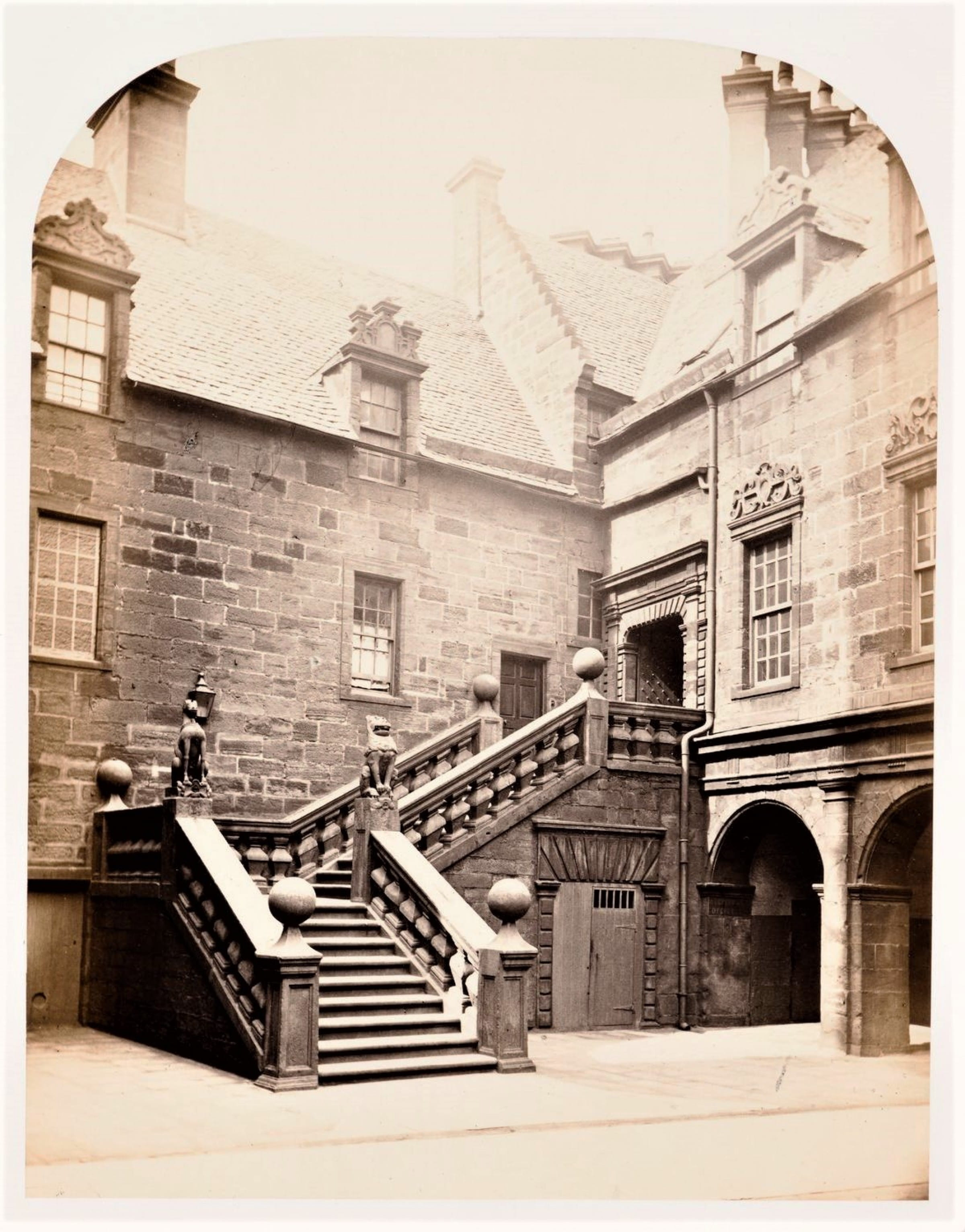 Unicorn spotted in Glasgow (The Lion and Unicorn Staircase, at the old Glasgow University (Thomas Annan, 1866))