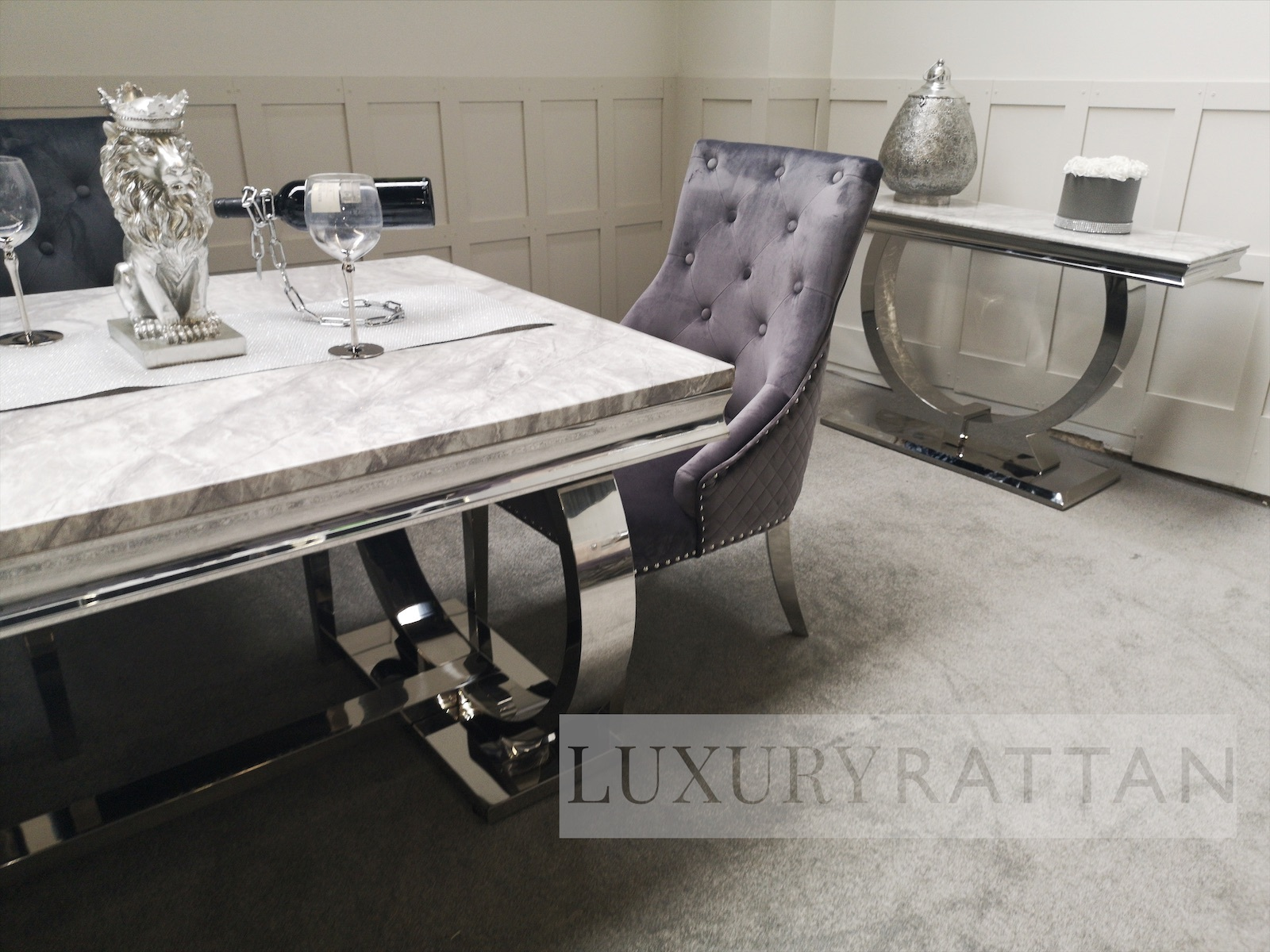 Arianna Grey Marble Mirrored Dining Set With Grey Lion Chairs Luxury Rattan