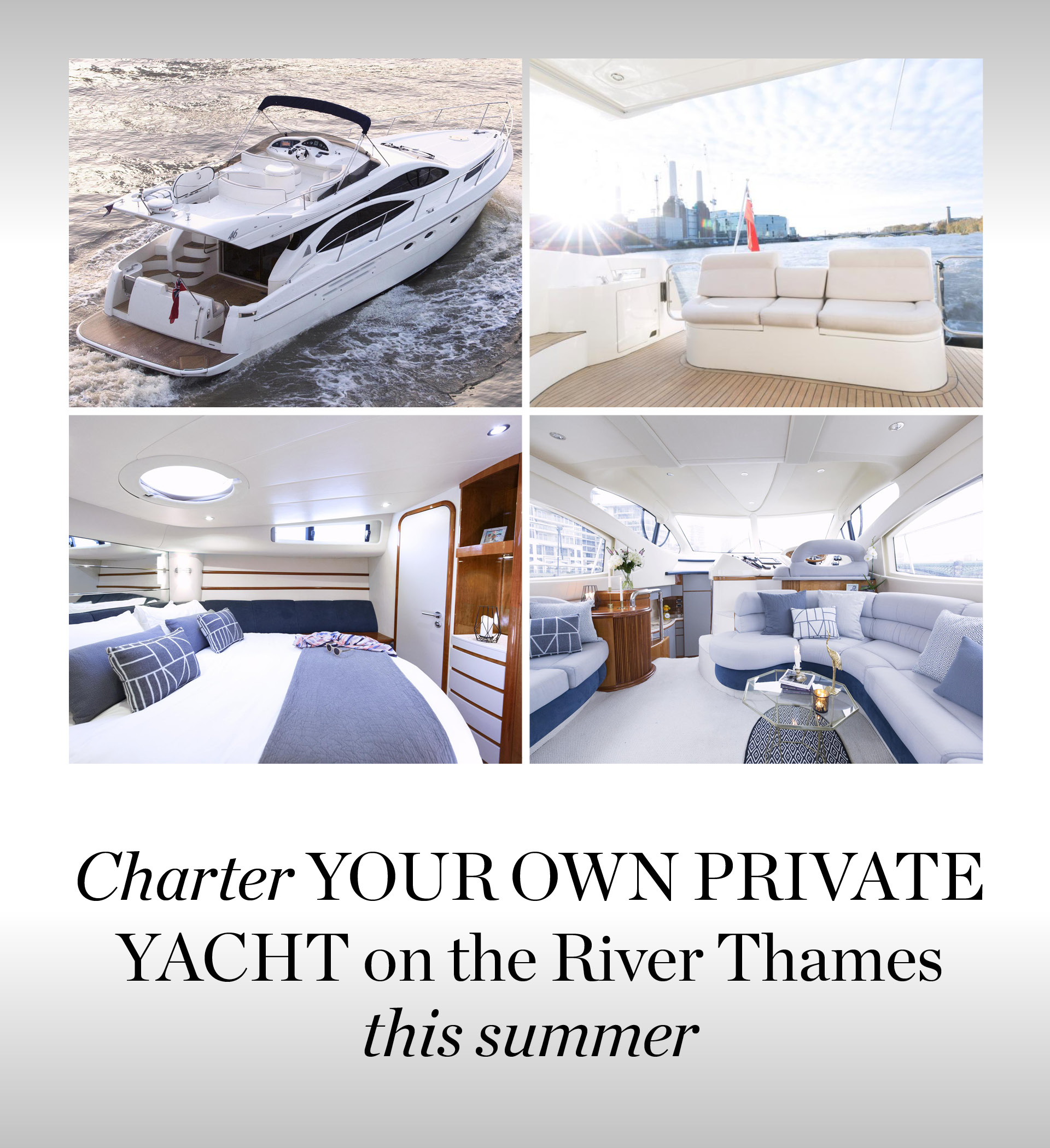 Charter your own private yacht on the River Thames this summer