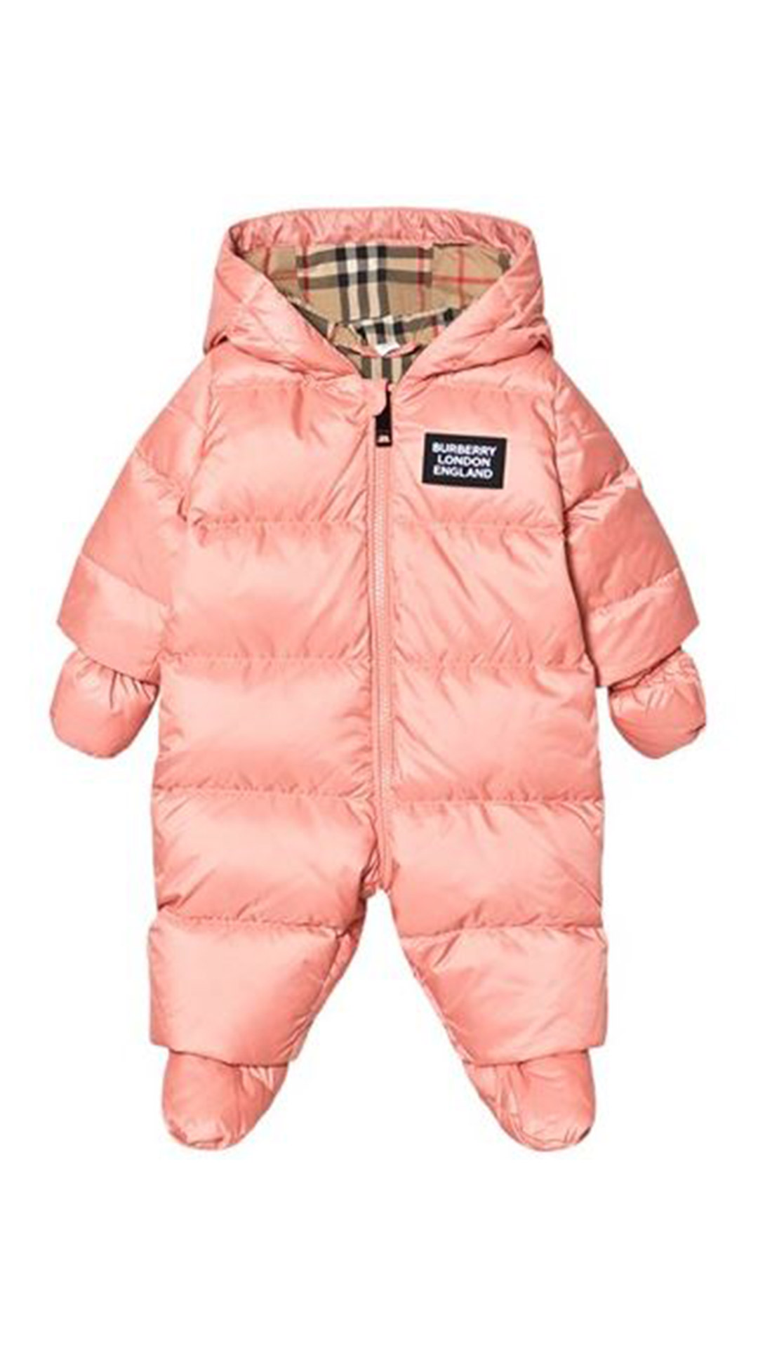 BURBERRY Peach Baby Snowsuit