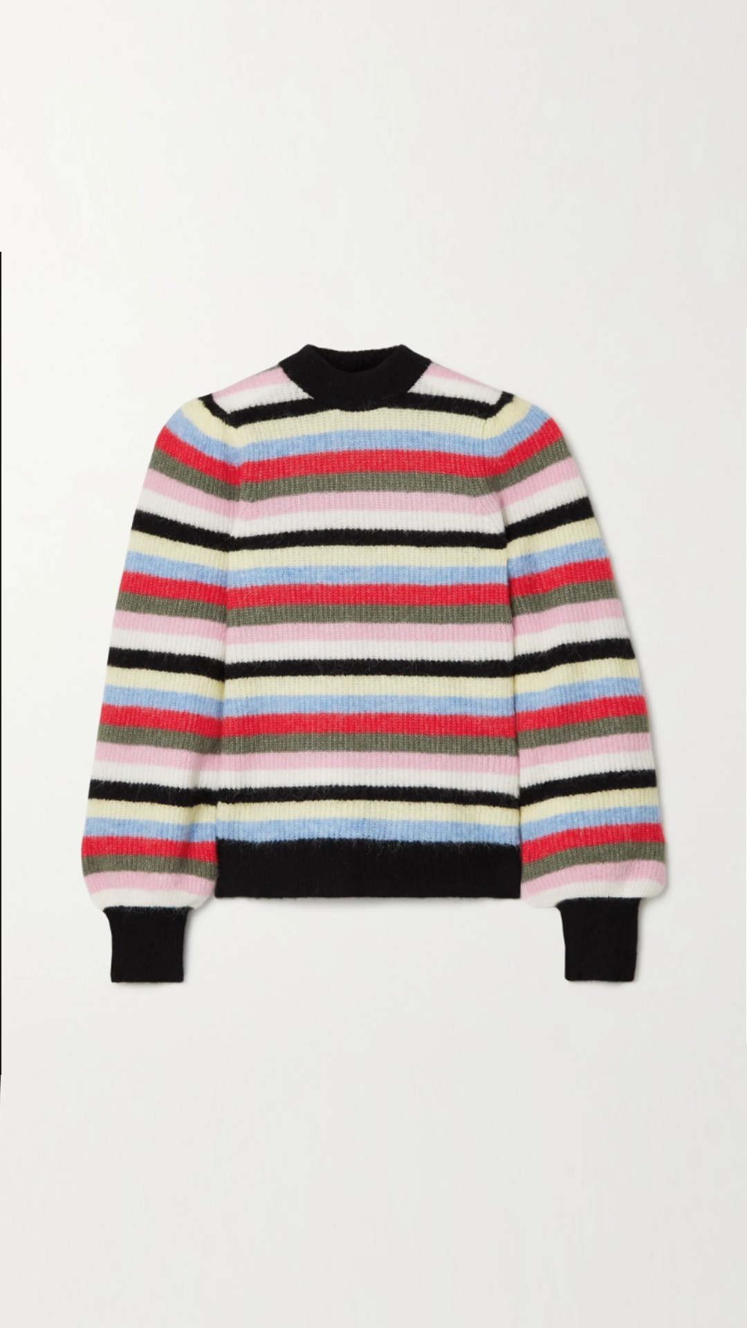 Ganni striped mixed wool knit