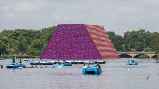 <h1>Christo On His Floating Masterpiece, The London Mastaba</h1>