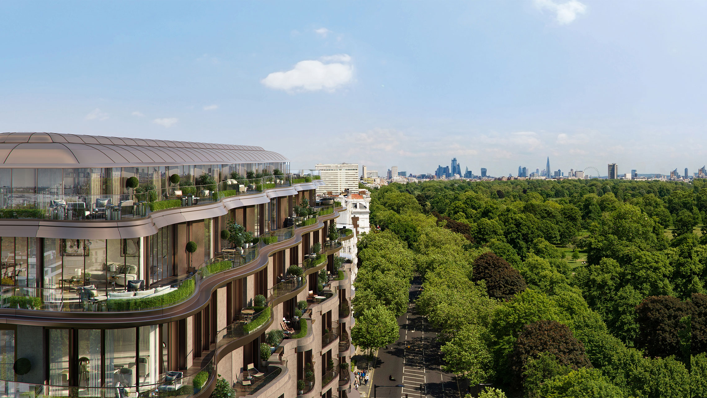 A CGI image of the Park Modern development to the left and Hyde Park to the right