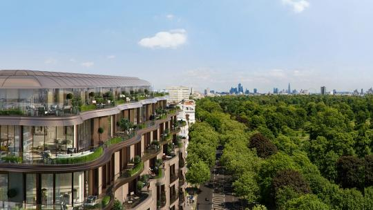A CGI image of the Park Modern development to the left, and Hyde Park to the right