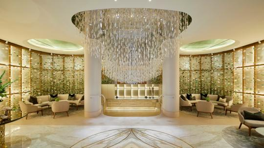 The reception at Mayfair Park Residences, featuring a Lasvit chandelier