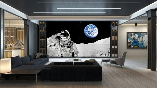 A Samsung 8k television showing an astronaut in Smallbone's showroom
