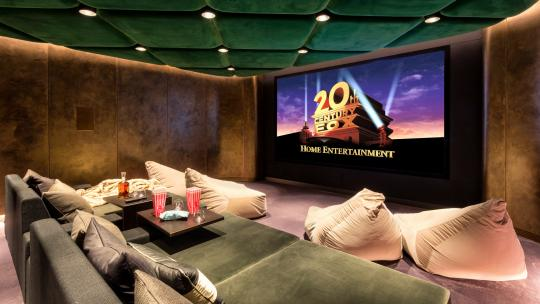 A cinema room in Grande House, with a velvet green ceiling