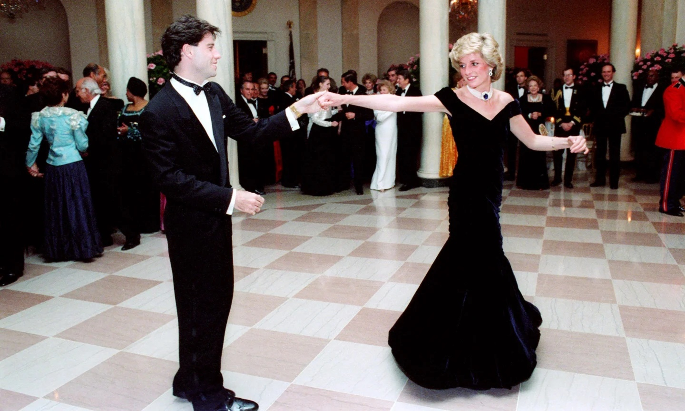 The 'Travolta dress', worn by Diana, Princess of Wales, at the White House, November 1985