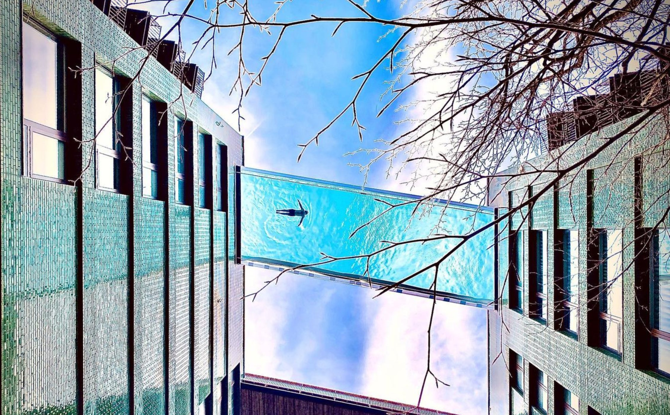 The Sky Pool, a floating swimming pool joining two buildings