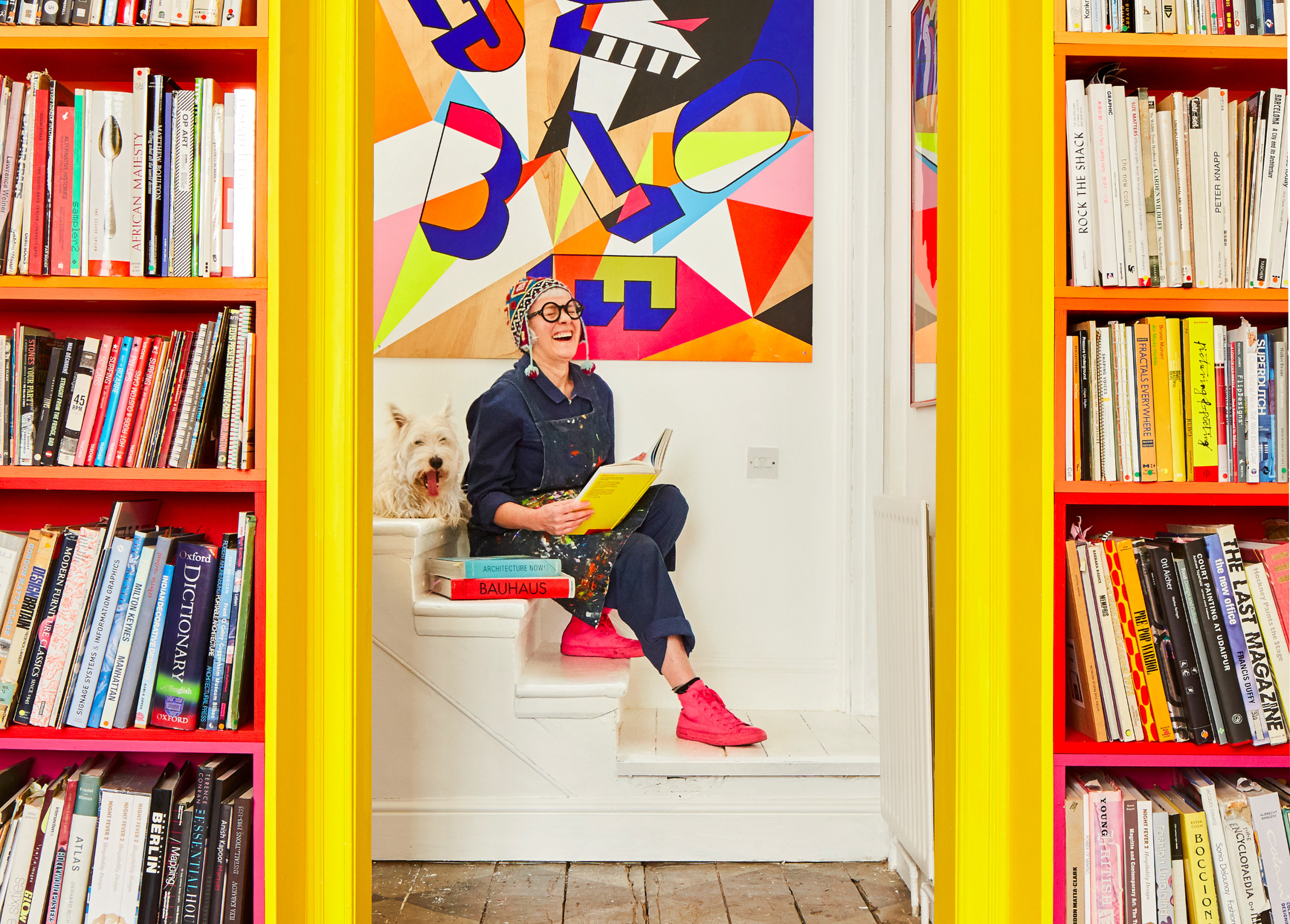 Morag Myerscough on her stairs in Shoreditch