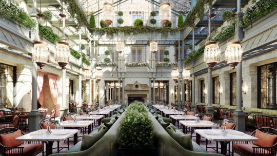 A rendering of the glass atrium at NoMad London