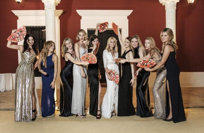 Anna-Chrisin Haas and her bridesmaids, wearing Galvan on her wedding day