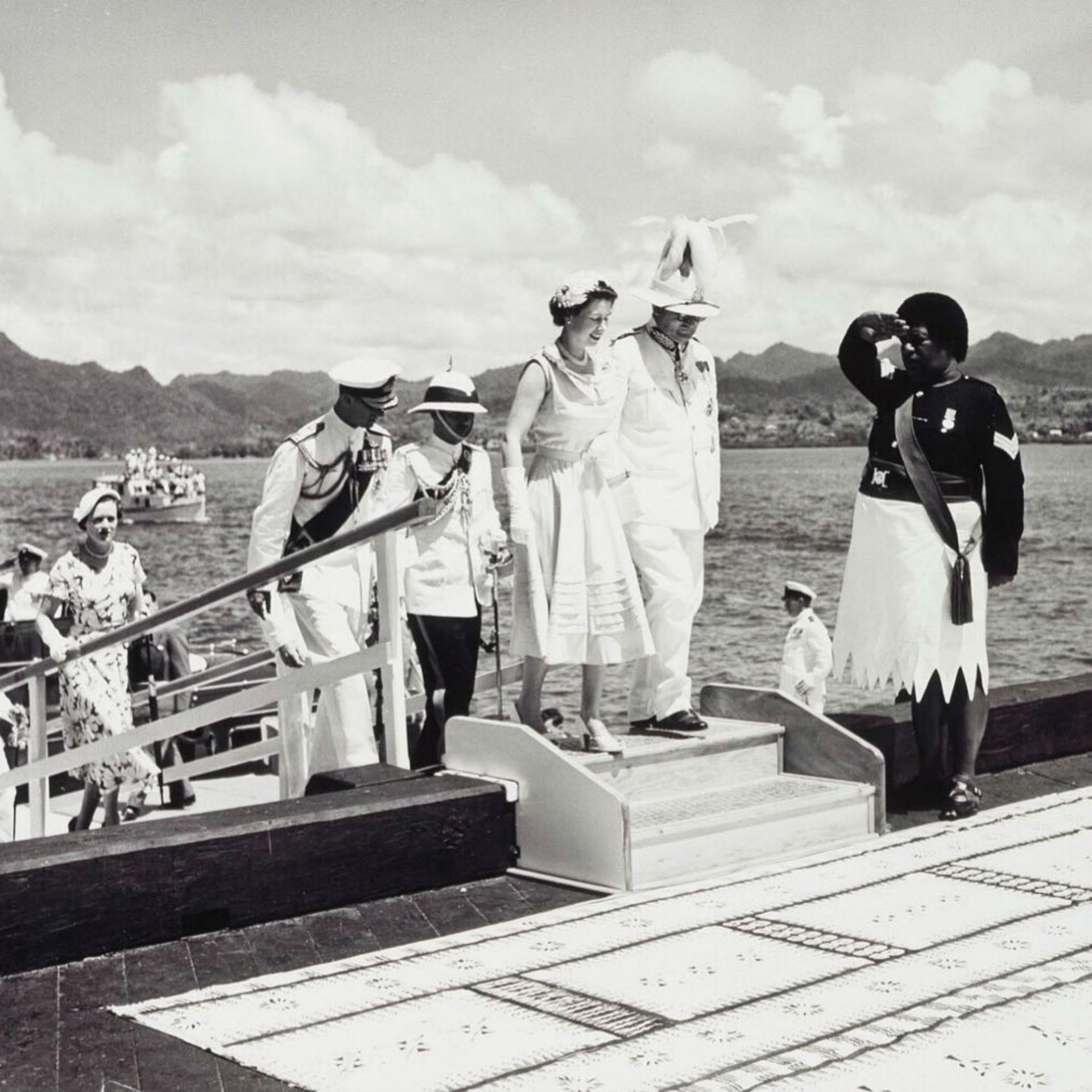 The Queen and Price Philip on a Royal Visit of Fiji