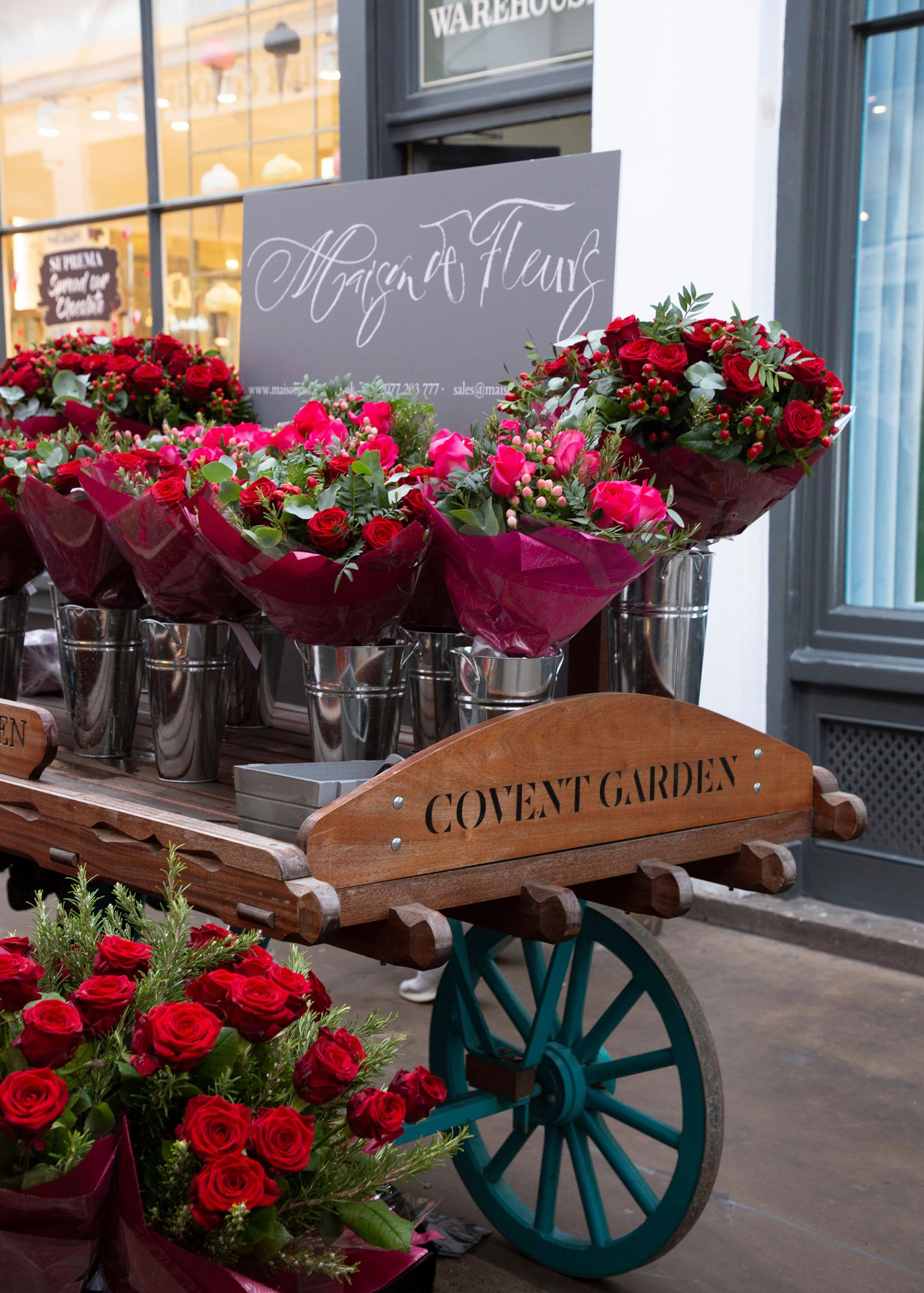 In celebration of valentines day maison de fleurs has created a large scale floral heart which is filling covent gardens famed piazza with love until 21