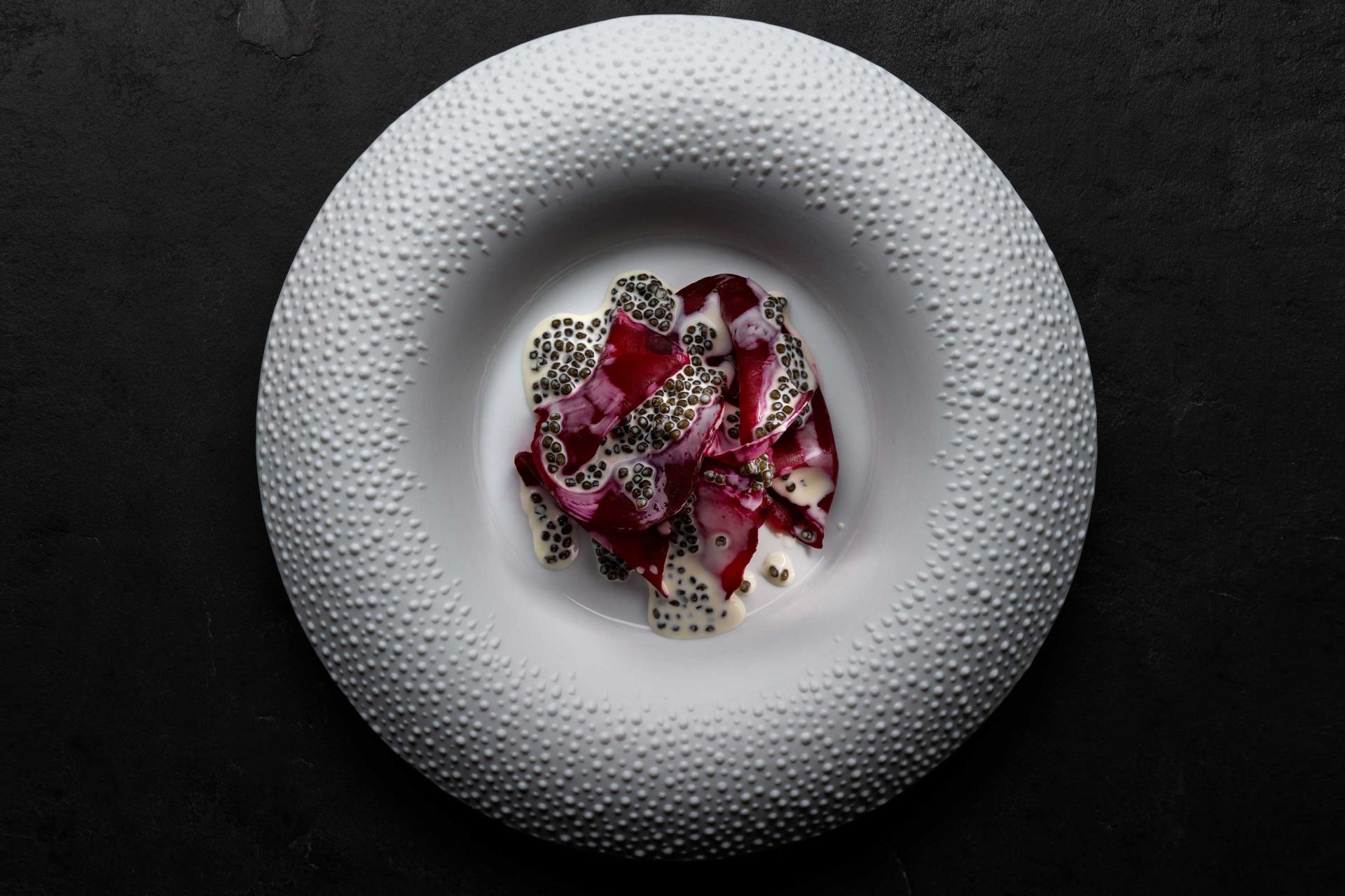 Salted beetroot with caviar at Mirazur