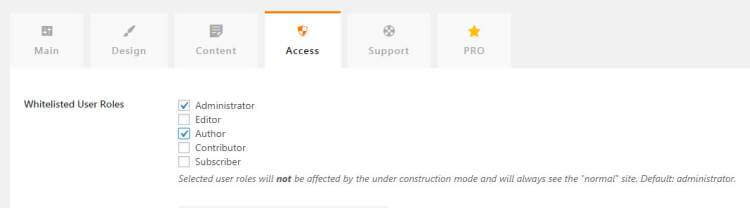 thumbnail under construction page access settings