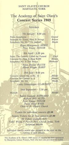 Concert Series 1989 Flyer