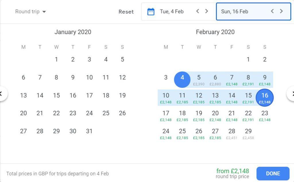 Flight comparisons on Google Flight examples