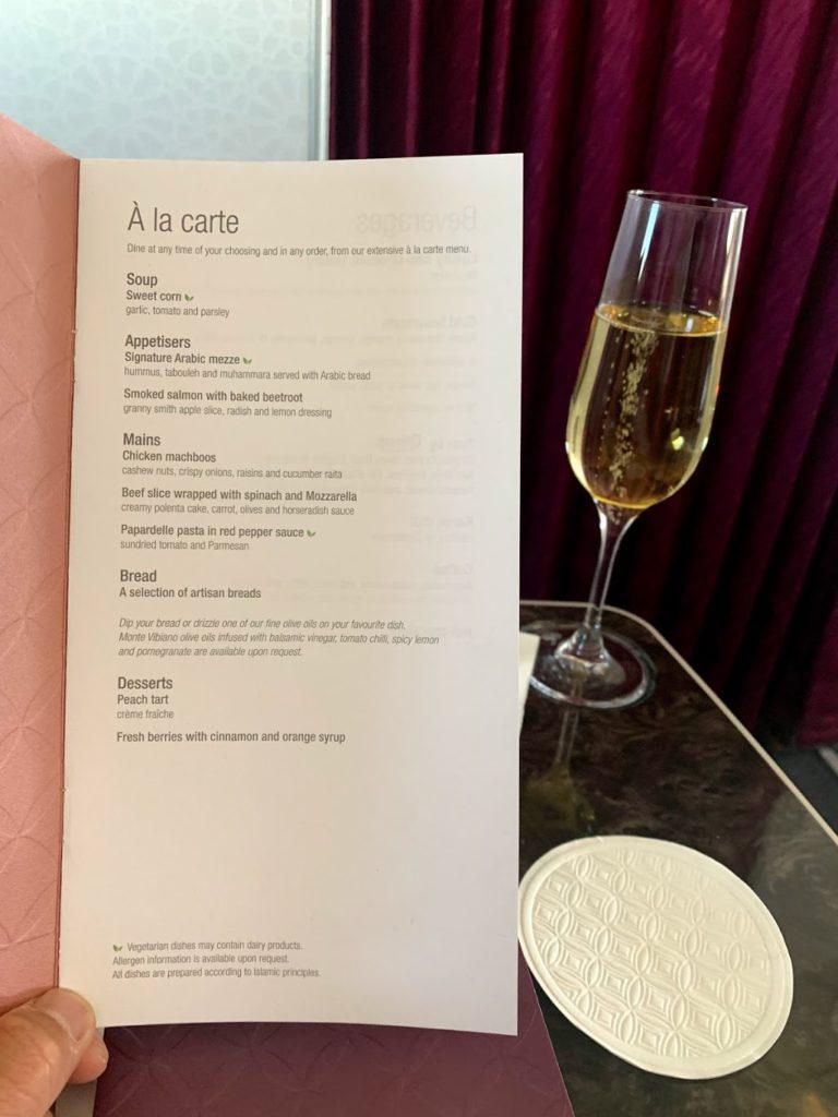 Business Class A la carte menu