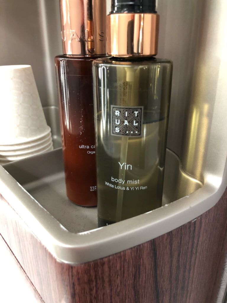 Rituals toiletries in the Qatar Airways A350 washrooms