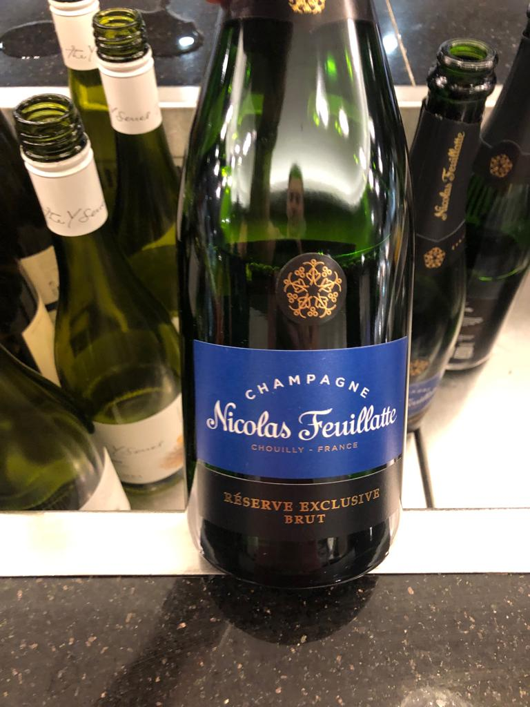 Nicolas Feuillate Champagne served at British Airways Club Lounge at Gatwick Airport. Perks you get when in the departure lounges.