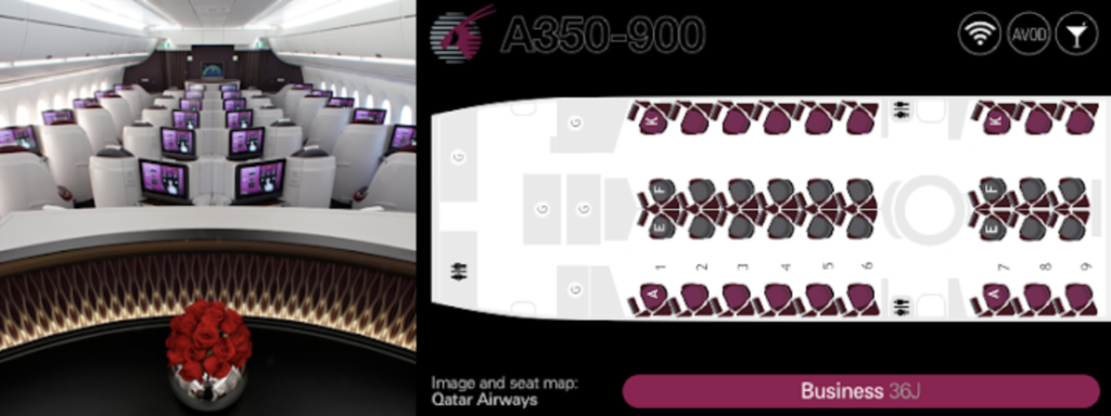 Qatar Airways A350 business class seating plan
