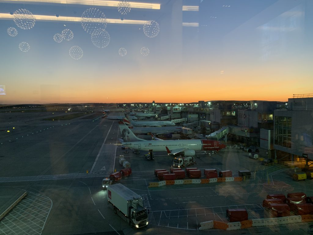 The wonderful views of the runway and planes from the British Airways First Lounge at Gatwick