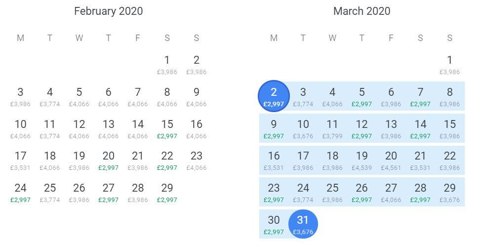 Google Flight showing the different options travelling in February and March 2020. Price quoted are for two passengers