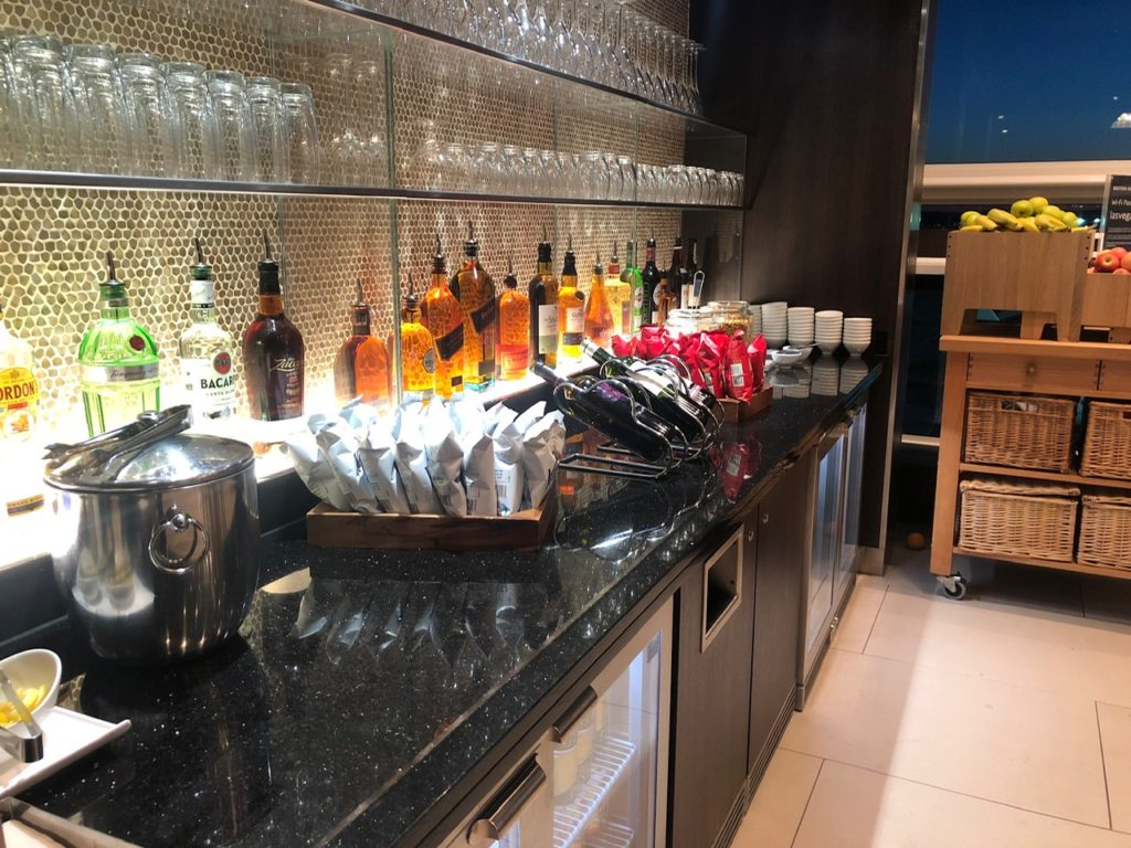 Drinks selection at the lounge