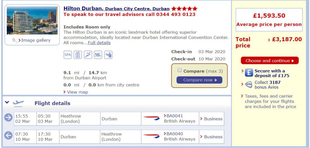 Information about the Hilton Durban is available on the British Airways website.