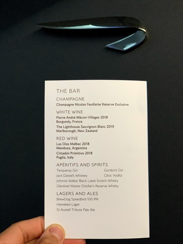 The drinks selection menu on the flight