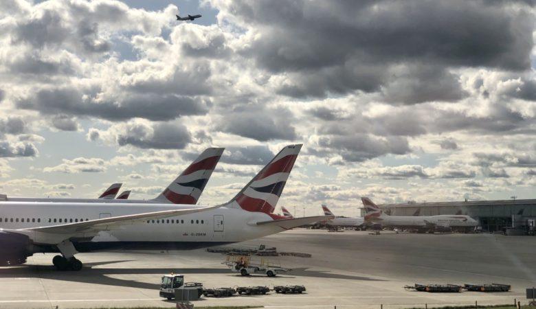 Tail fins of BA aircraft at Heathrow Terminal 5
