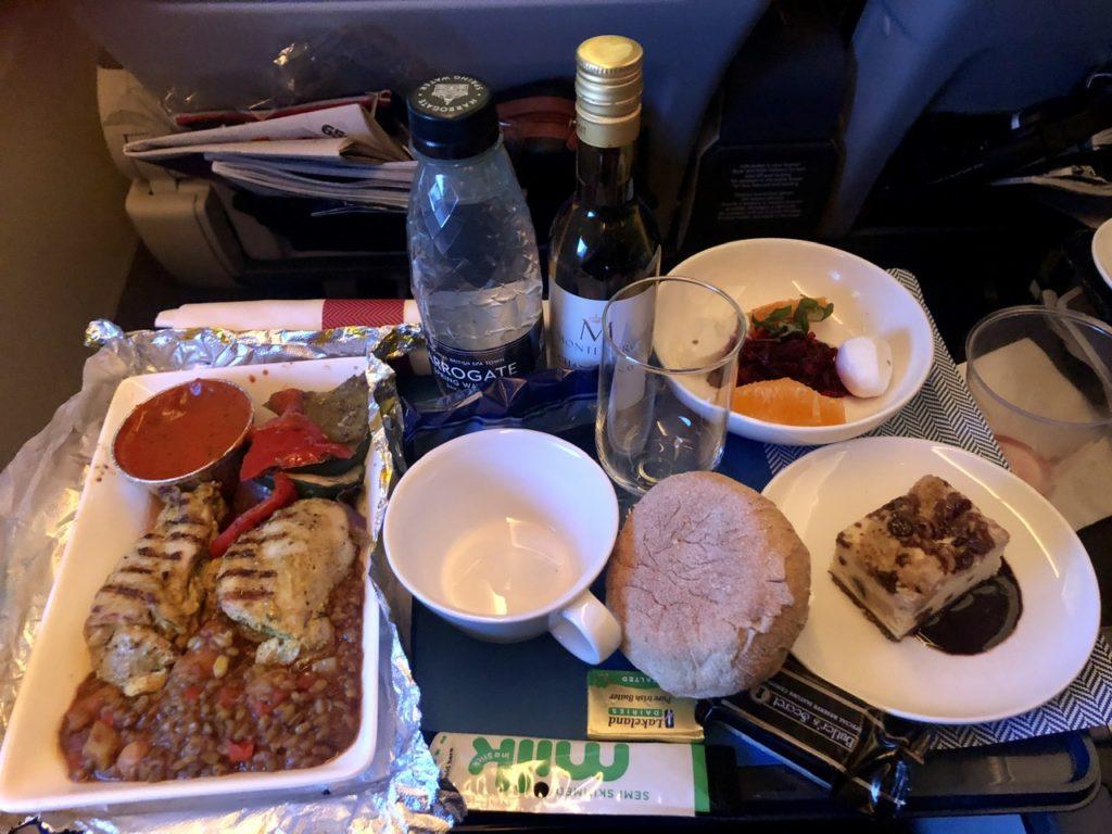 Dinner service in BA Premium Economy