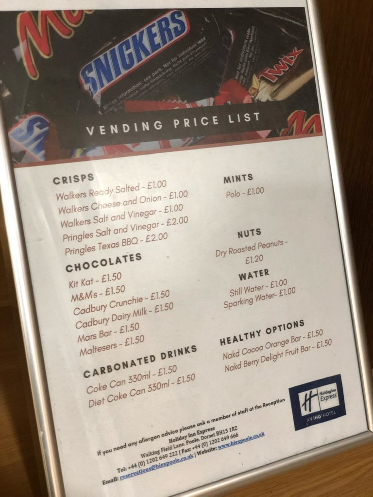 Vending price list at Holiday Inn Express Poole