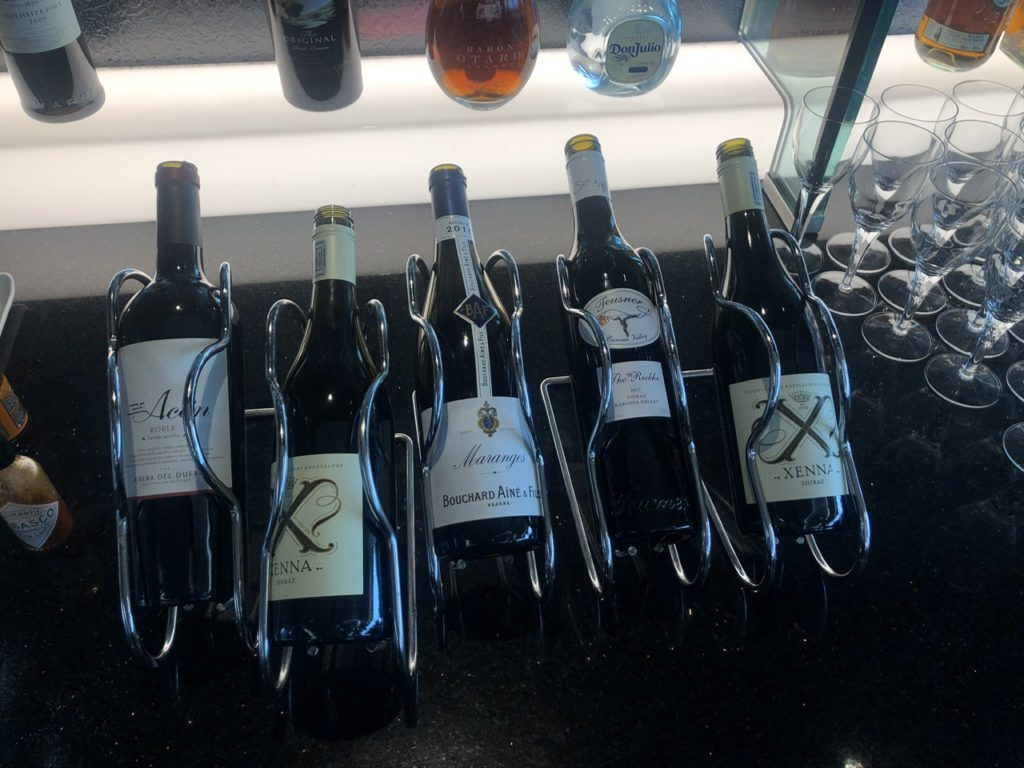 Selection of red wines on offer
