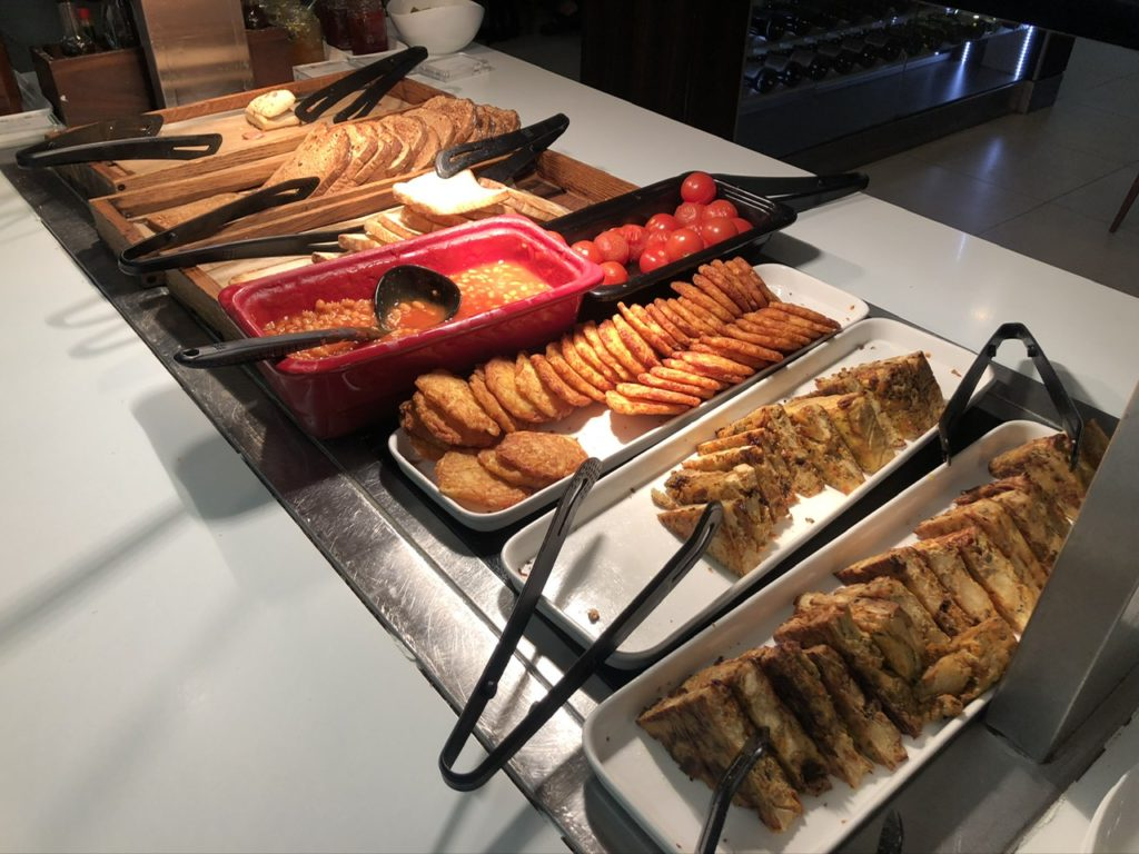 Food selection at the BA Club Lounge