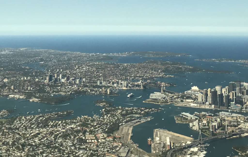 Sydney Harbour on approach to Sydney Kingsford Smith Airport