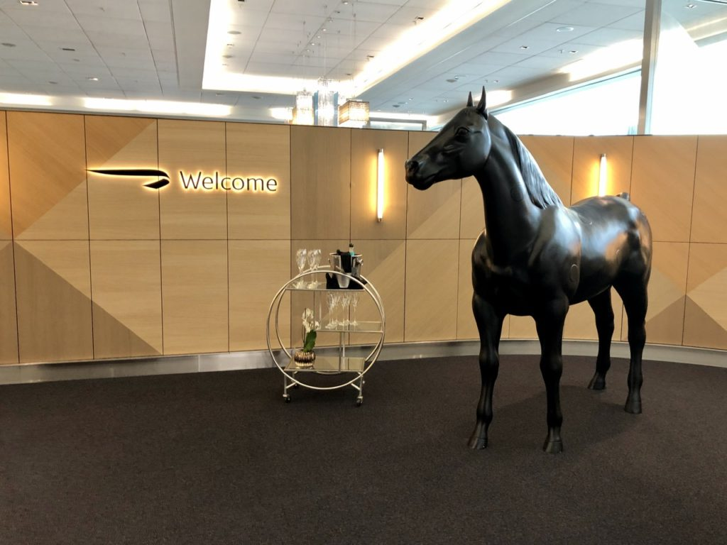 A welcoming horse at BA Galleries First Lounge Heathrow