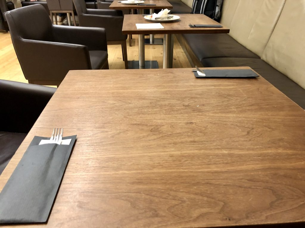 Dining table in BA Galleries First Lounge Heathrow