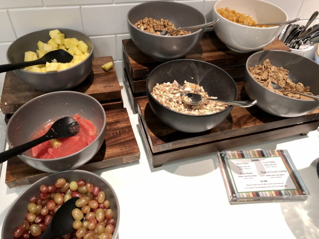 Cold breakfast buffet at BA Galleries First Lounge Heathrow