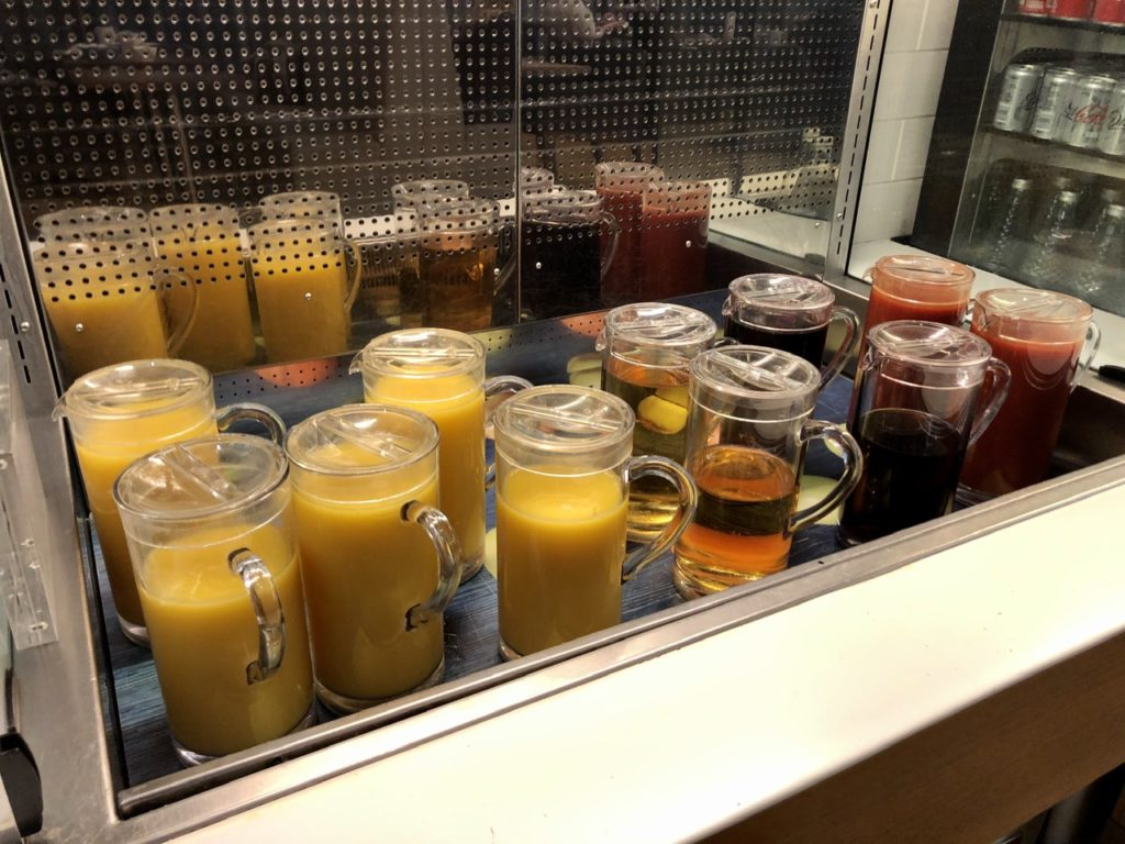 Fresh juices at BA Galleries First Lounge Heathrow