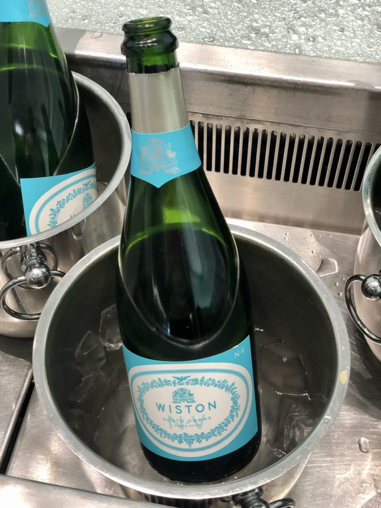 English sparking wine at BA Galleries First Lounge Heathrow