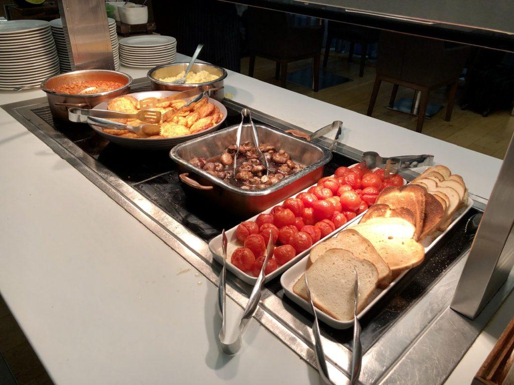 Hot breakfast buffet at BA Galleries First Lounge Heathrow